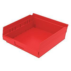 "Akro-Mils Shelf Bin, Red, 4""H x 11-5/8""L x 11-1/8""W, 1EA"