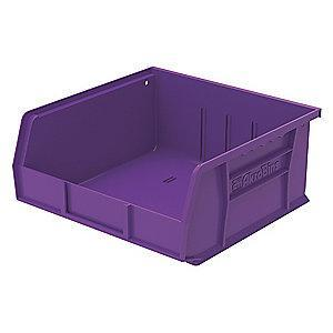 "Akro-Mils Hang and Stack Bin, Purple, 10-7/8"" Length, 11"" Width, 5"" Height"