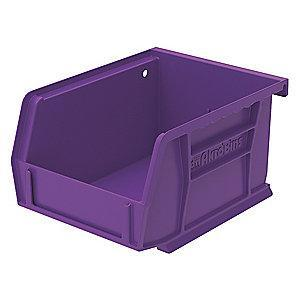 "Akro-Mils Hang and Stack Bin, Purple, 5-3/8"" Length, 4-1/8"" Width, 3"" Height"
