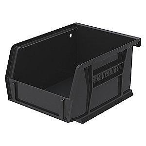 "Akro-Mils Hang and Stack Bin, Black, 5-3/8"" Length, 4-1/8"" Width, 3"" Height"