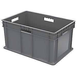 "Akro-Mils Straight Wall Container, Gray, 12-1/4""H x 23-3/4""L x 15-3/4""W, 1EA"