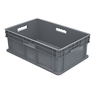 "Akro-Mils Straight Wall Container, Gray, 8-1/4""H x 23-3/4""L x 15-3/4""W, 1EA"