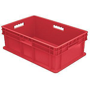 "Akro-Mils Straight Wall Container, Red, 8-1/4""H x 23-3/4""L x 15-3/4""W, 1EA"