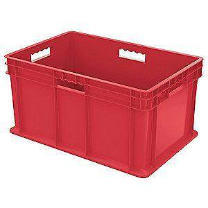 "Akro-Mils Straight Wall Container, Red, 12-1/4""H x 23-3/4""L x 15-3/4""W, 1EA"