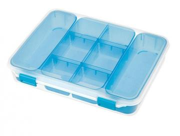 Sterilite Divider Case, Clear/Blue
