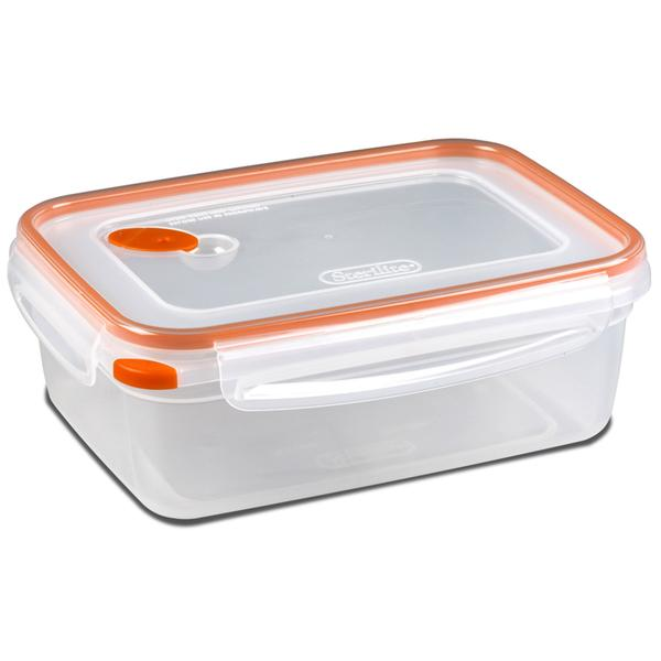 Sterilite Ultra-Seal Food Container, Rectangle, Clear/Tangerine, 8.3-Cups