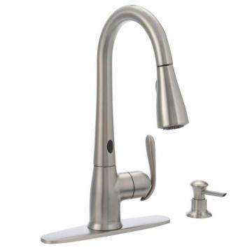 Moen Haysfield MotionSense 1 Handle Pulldown Kitchen Faucet with Matching Soap Dispenser