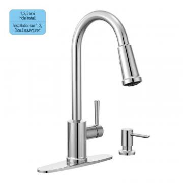 Moen Indi 1 Handle Pulldown Kitchen Faucet with Soap Dispenser - Chrome Finish