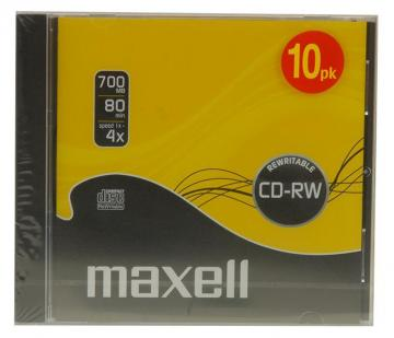 Maxell 4x Speed CD-RW Blank CDs in 10mm Jewel Cases - Pack of 10