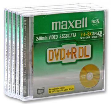 Maxell 8x Speed DVD+R Dual Layer Blank DVDs in Jewel Cases - Pack of 5