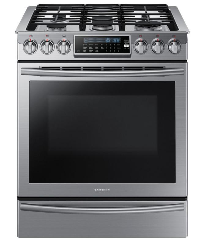 Samsung 5.8 cu. ft. Slide-In Gas Range with True Convection in Stainless Steel