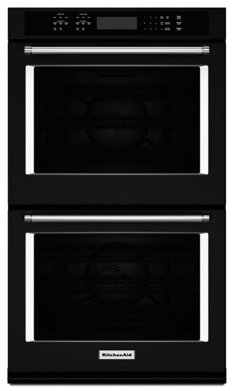 KitchenAid 10 cu. ft. Electric Double Wall Oven with Even-Heat True Convection in Black