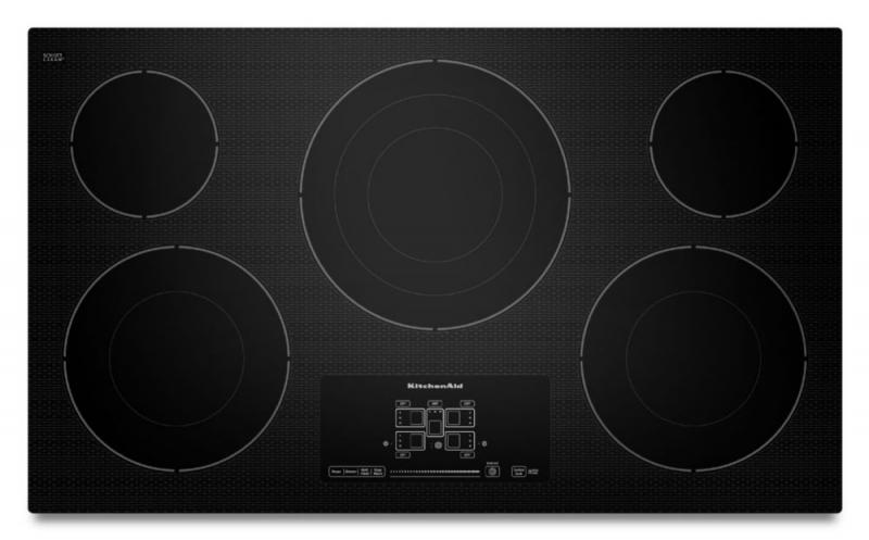 "KitchenAid 36"" Electric Cooktop with Even-Heat Technology and Touch-Activated Controls in Black"
