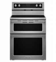 KitchenAid 6.7 cu. ft. Five-Burner Electric Double Oven Convection Range in Stainless Steel