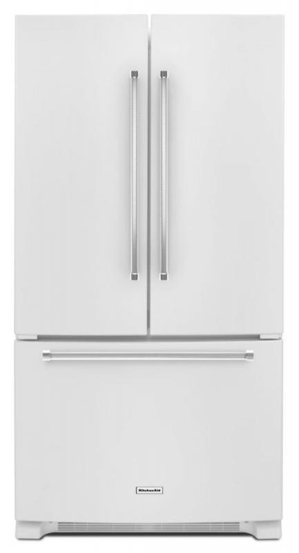 KitchenAid 20 cu. ft. Counter-Depth French Door Refrigerator with Interior Dispenser in White