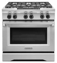 KitchenAid 5.1 cu. ft. Dual Fuel Free-Standing 6-Burner Commercial Style Range in Stainless Steel