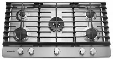 "KitchenAid 36"" Five Burner Gas Cooktop with CookShield Finish"
