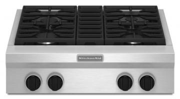 "KitchenAid 30"" Commercial-Style Gas Rangetop in Stainless Steel"