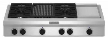 "KitchenAid 48"" Commercial-Style Gas Rangetop with Even-Heat Grill in Stainless Steel"