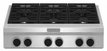 "KitchenAid 36"" Commercial-Style Gas Rangetop in Stainless Steel"