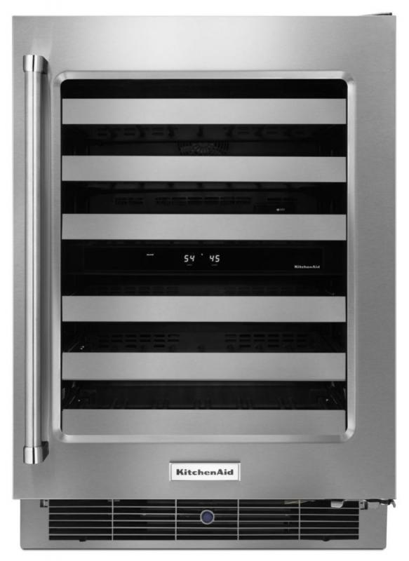 KitchenAid 24 In. Stainless Steel Wine Cellar with Metal-Front Racks - KUWR304ESS