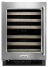 KitchenAid Stainless Steel Wine Cellar with Wood-Front Racks - KUWL204ESB