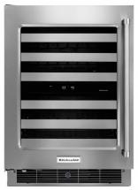 KitchenAid 24 In. Stainless Steel Wine Cellar with Metal-Front Racks - KUWL304ESS