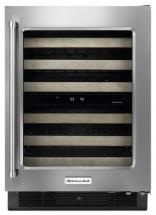 KitchenAid Stainless Steel Wine Cellar with Wood-Front Racks - KUWR204ESB