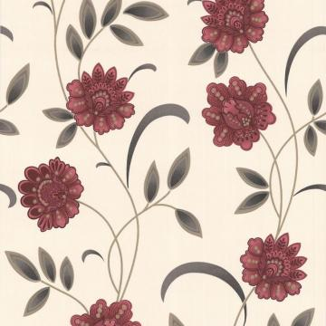 Graham & Brown Sadie Red/Charcoal/Cream Wallpaper