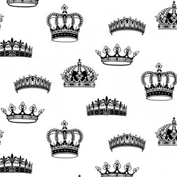 Graham & Brown Crowns & Coronets Black/White Wallpaper