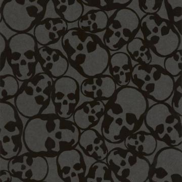 Graham & Brown Skulls Black Flock Wallpaper