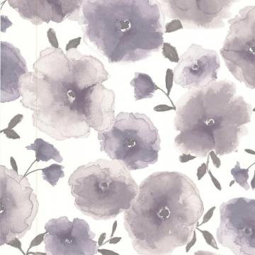 Graham & Brown Poppies Lavender/Grey/Cream Wallpaper