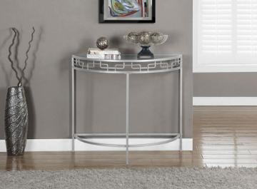 "Monarch Silver Metal 36""L Hall Console Accent Table"