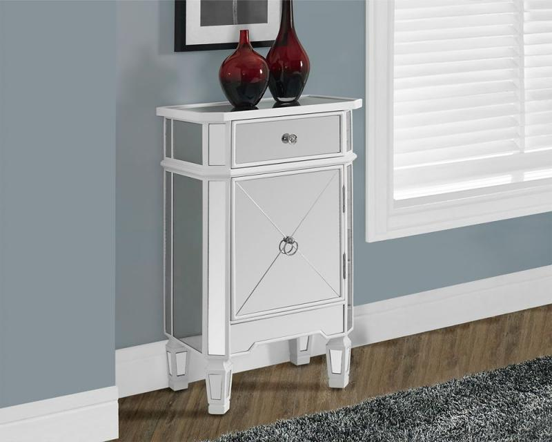 Monarch Satin White / Mirrored 1 Drawer Accent Cabinet