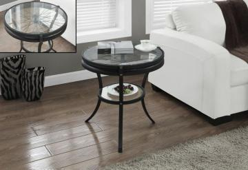 "Monarch Hammered Black 20""Dia Accent Table With Tempered Glass"