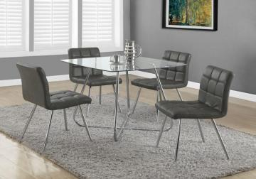 "Monarch Grey Leather-Look / Chrome Metal 32""H Dining Chair / 2Pcs"