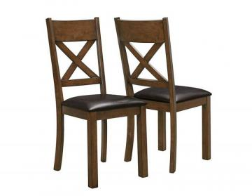 "Monarch Walnut / Dark Brown Leather-Look 40""H Dining Chair / 2Pcs"