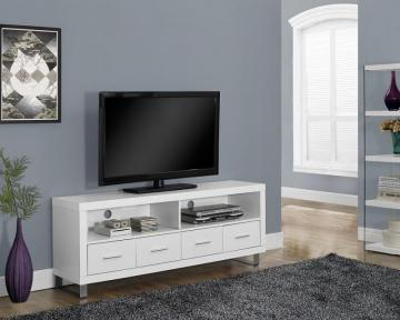 "Monarch White Hollow-Core 60""L Tv Console With 4 Drawers"