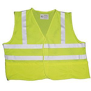 Ability One Lime with Silver Stripe High Visibility Vest, ANSI 2, Hook-and-Loop Closure, XL