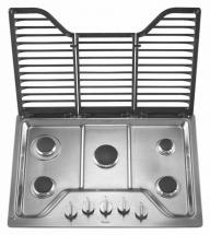 Whirlpool 30-inch Five Burner Gas Cooktop with EZ-2-Lift Hinged Cast-Iron Grates in Stainless Steel