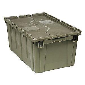 "Quantum Attached Lid Container, Gray, 12-1/2""H x 27""L x 17-3/4""W, 1EA"