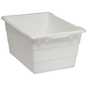 "Quantum Cross Stacking Tote, White, 12""H x 23-3/4""L x 17-1/4""W, 1EA"