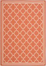 Safavieh Courtyard Terracotta / Bone 5  ft.  3-inch  x 7  ft.  7-inch  Indoor/Outdoor Area Rug