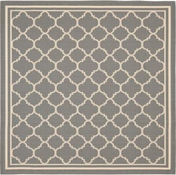 Safavieh Courtyard Anthracite / Beige 7 Feet. 10 In. X 7 Feet. 10 In. Indoor/Outdoor Square Area Rug