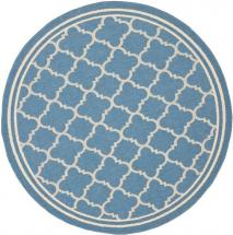 Safavieh Courtyard Blue / Beige 5  ft.  3-inch  x 5  ft.  3-inch  Indoor/Outdoor Round Area Rug