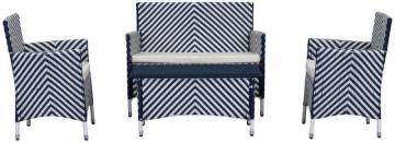 Safavieh Figuero 4-Piece Patio Set in Navy/White