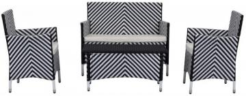 Safavieh Figuero 4-Piece Patio Set in Black/White