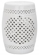 Safavieh Quatrefoil Patio Stool in White