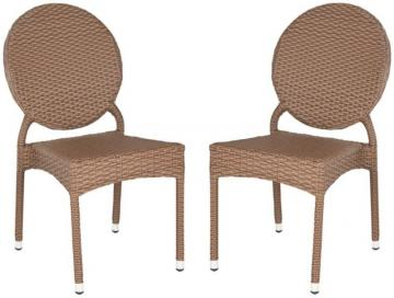 Safavieh Valdez Indoor/Patio Stacking Side Chair in Brown (2-Pack)