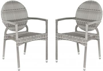Safavieh Valdez Indoor/Patio Stacking Arm Chair in Grey (2-Pack)